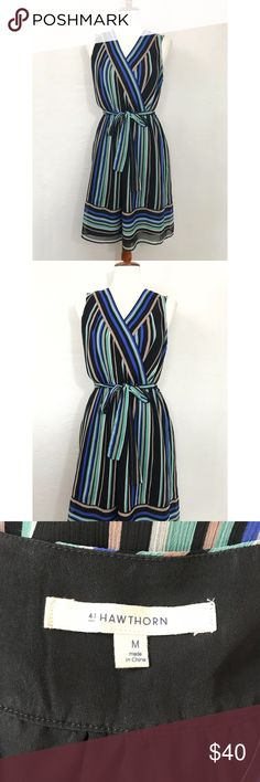 41 hawthorn ✨ stitch fix Black and blue muticolor striped v-neck dress with tied waist. Extremely flattering for any body type but looks amazing on an hourglass figure with the bow at the center. This will be your new favorite dress. Sold by Stitch Fix. 💕 41 hawthorn Dresses