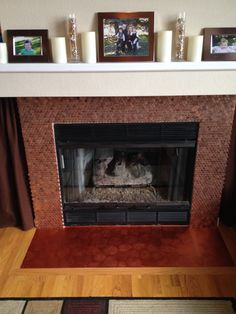 Finished Penny Fireplace Budget Projects Pinterest Pennies And Fireplaces