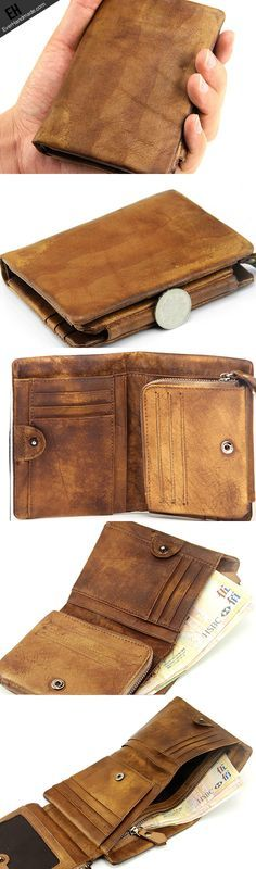 Handmade men short leather wallet men vintage brown gray purple wallet for him