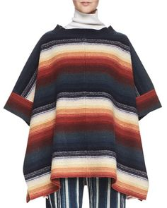 CHLOÉ HOIRZONTAL-STRIPED SILK PONCHO, BLUE/RUST. #chloé #cloth #