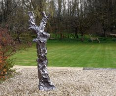 New sculpture, just finished - it's an outdoor piece, based on an old tree, made from sheet lead and finished with oil.
