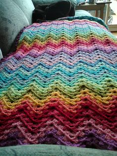 Ravelry: wigglescrochet's #Crocheted Granny Ripple Blanket  Love these colors!