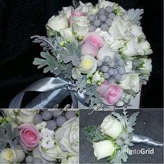 Bouquet rosas, kalanchoe, senecio, e brunias
