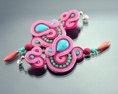 Long Turquoise Pink Dangle Earrings, Long Dangle Soutache Earrings, Turquoise Earrings, Dangling Embroidered Earrings, Soutache Earrings