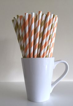 Paper Straws - Peach and Gold / Coral and Light Gold Party Straws Birthday Wedding Bridal Shower Baby Shower Mason Jar Straws Graduation Mix by PuppyCatCrafts
