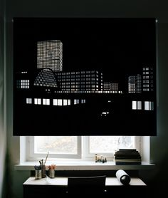 A series of perforated black out curtains with city views of Paris, Tokyo, Helsinki, Berlin and Stockholm. Manufactured by Iuk Box