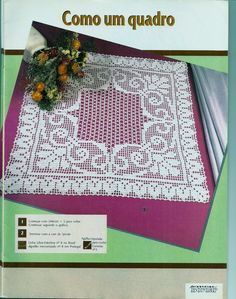 Toca do tricot e crochet Crochet Tablecloth, Crochet Doilies, Filet Crochet Charts, Fillet Crochet, Crochet Home, Picnic Blanket, Diy And Crafts, Projects To Try, Blog