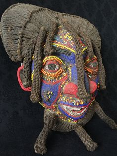 Vintage Authentic Grasslands Style Beaded Mask with Dreadlocks, Cameroon