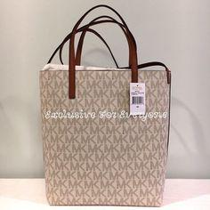 ccd793059b6a NWT Michael Kors Hayley Large Convertible Vanilla/Acron Tote MK Logo Bag  $198 $149.99