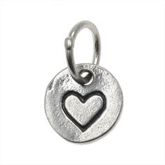 STERLING SILVER TINY CHARM CIRCLE WITH STAMPED HEART 85MM 1 PIECE ANTIQUED SILVER from beadaholique.com