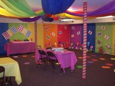 "My oldest daughter thought a Candyland theme was both appropriate and full of fun possibilities for her ""sweet sixteen"" party.  I'm sure it had absolutely nothing to do with a candy obsession that is bordering on addiction.  Nope!  Nothing at all! Okay you are probably thinking ""How much more is there?"" but I just wanted to give you a quick tour around the room!"