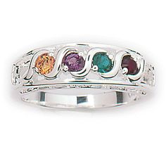 "The popular S-curve design and unique ""I LOVE YOU"" setting combined with your choice of 1 to 7 Austrian Crystal birthstones to create a breathtaking tribute to mom. Crafted in solid Sterling Silver."