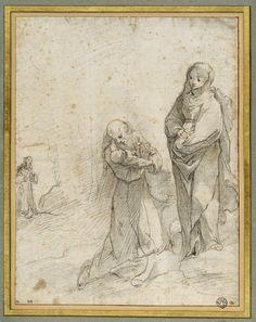 Inventaire du département des Arts graphiques - Saint François tenant l'Enfant devant la Vierge et un saint religieux - VANNI Francesco