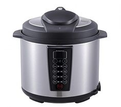 Black 1000Watt 6Quart Electric Pressure Cooker Brushed Stainless and Matte by BestApplince * Want additional info? Click on the image.