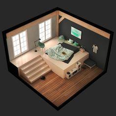 ArtStation - Slices of life, Noëllie De Windt Bg Design, House Design, Small Game Rooms, White Room Decor, Bedroom Setup, Isometric Design, Game Room Design, 3d Home, Japanese Interior