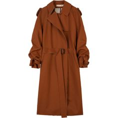 Marni Wool and Linen Coat ($1,079) ❤ liked on Polyvore featuring outerwear, coats, jackets, linen coat, marni coat, marni, woolen coat and brown coat