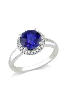 Blue Diamond Sapphire Ring.
