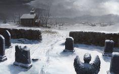 Snowy Graveyard Scenery Digital Art Fantasy Wallpaper