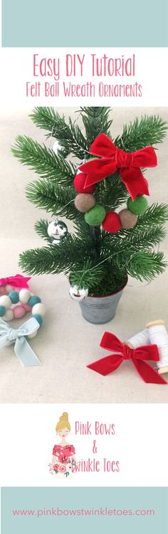 Easy DIY: Felt Ball Wreath Ornaments - Super simple do it yourself crating tutorial - christmas holiday craft - video lesson - Pink Bows & Twinkle Toes