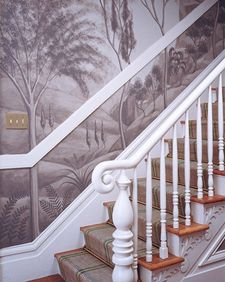 Although this mural looks complex, the techniques are both easy to master and forgiving. Painting is done with a single color diluted to various conce Stair Walls, Stairs, Porches, Inspiration Ikea, Stairway Art, Simple Wall Art, Art Deco, Grisaille, Shabby