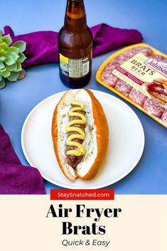 These Easy Air Fryer Brats can be made from fresh or frozen and have that amazing grilled flavor. You will love these because they cook very quickly! I like to add onions and beer for a little flavor, but feel free to use your own favorite flavors and pairing. Air Fryer Dinner Recipes, Air Fry Recipes, Air Fryer Recipes Easy, How To Cook Brats, How To Cook Sausage, Beer Brats, Meal Prep Guide, Air Fryer Healthy, Recipe Instructions