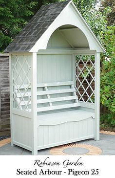 The Robinson Garden Seated Arbour Finished With Reclaimed Welsh Slate. Comes With A Trellis Either Side To Allow Climbing Plants To Take Full Advantage The Arbours Height. Painted In Farrow and Ball Paint. Please See Our Website For More Details.