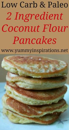 2 Ingredient Low Carb Coconut Flour Pancakes Recipe Easy 2 Ingredient Low Carb Coconut Flour Pancake Recipe – Quick Dairy Free, Paleo & Keto friendly pancake recipe – perfect for a gluten free breakfast. No Flour Pancakes, Low Carb Pancakes, Pancakes Easy, Breakfast Pancakes, Breakfast Cereal, Diet Breakfast, Paleo Pancakes Coconut Flour, Carb Free Breakfast, Mcdonalds Breakfast