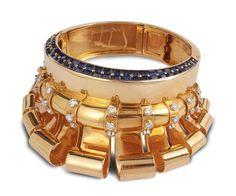 "A yellow gold, sapphire and diamond ""Médicis"" bangle, circa 1937, Boucheron Paris"