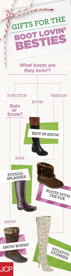 Besties love their boots! And this season is no exception. Give her the holiday gift that will make her soles happy, come rain or shine. If it's fashion, high function, or somewhere in between, we have a pair we'll know she'll wear. Use this guide to find a style your Boot Lovin' Bestie will fall head over heels for this year.