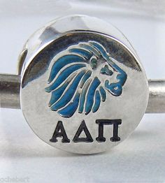 Alpha Delta Pi Sorority Greek Letter & Blue Lion European Bead Sterling Silver