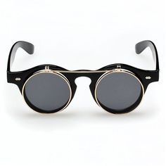 Vintage Style Flip Up Round Steampunk Sunglasses $6.59 http://steampunkclothingsource.com/steampunk-costumes-accessories/vintage-style-flip-up-round-steampunk-sunglasses