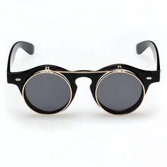 Vintage Style Flip Up Round Steampunk Sunglasses $6.59 http://steampunkclothingsource.com/steampunk-costumes-accessories/vintage-style-flip-up-round-steampunk-sunglasses