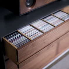 Partitioned CD storage drawer detail