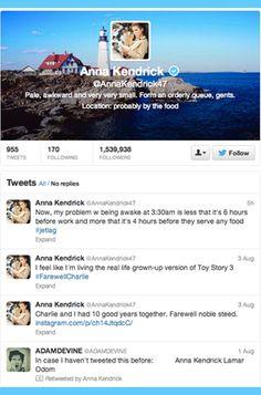 11 Celebrities to Follow on Twitter: Anna Kendrick.