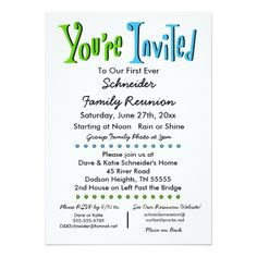 Fun Family Reunion Party Or Event Invitation
