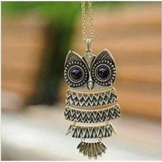 #4: Vintage Owl Pendant Long Bronze Chain Necklace Clothes.