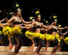 Tahitian dancers from Halau Hula o' Leilani perform in Kauai Hawaii
