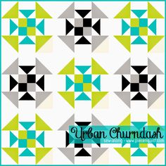 """Piece N Quilt: Urban Churndash - A Simple Sew-Along..This fun, modern twist on the traditional Churndash quilt block is going to be so much fun to sew along with you. The finished quilt will measure 72"""" square. I've sketched the quilt out in solids"""