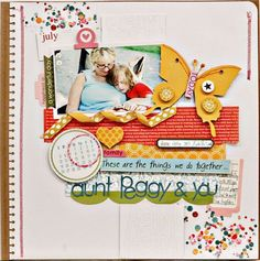 Hello Beautiful & Sophisticates layout by Guest Designer (and 2Peas Garden Girl), Jen Jockisch. Beautiful, isn't it? I love the confetti scraps in the corners.
