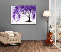 My charcoal and acrylic artwork of a jacaranda tree in a room I designed for my art. A view of Paris in the window. Acrylic Artwork, Window Art, Counting, My Design, Charcoal, Original Art, My Arts, Walls, Rooms