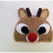 Rudolph crochet hat - super cute, but no pattern. Wonder if I can recreate from sight?