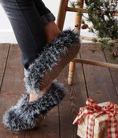 Fuzzy Faux Fur Knit Slippers | AllFreeKnitting.com