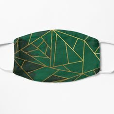Emerald Green Geometric Gold Lines Face Masks from speckled Redbubble store.