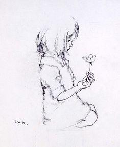 """Little Girl with founded flower petal"" par Chihiro Iwasaki (1918-1974) illustratrice japonaise."
