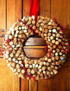 Basteln band rot weihnachten Korken kranz