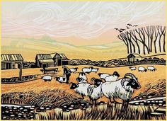 Looking After the Sheep, linocut by Rob Barnes. Wood Engraving, Linocut Prints, Gravure, Print Artist, Art Images, Printmaking, Sheep, Screen Printing, Fine Art Prints