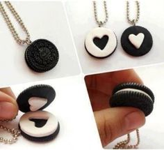 Oreo Cookie, Heart Necklaces cute