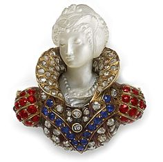 Carved Moonstone Cameo, Rose-Cut Diamond, Sapphire, Ruby And Gold Brooch Of Queen Elizabeth I In Period Costume