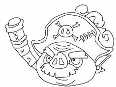 Angry birds epic coloring page - pirate pig