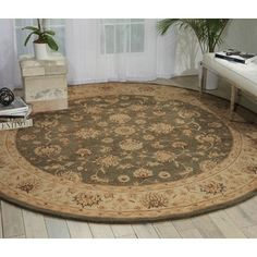 Nourison Heritage Hall Slate Area Rug (9' Round)   Overstock.com Shopping - The Best Deals on Round/Oval/Square